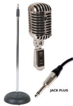 NJS Vintage Style 'Elvis' Retro Chrome Microphone & Matching Stand Package with choice of Black or Blue grill